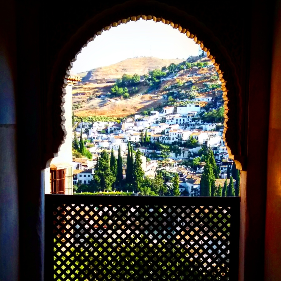A window in La Alhambra overlooking Albaicin.