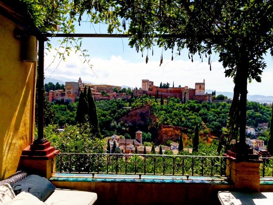 The view from La Alhambra from a rooftop in Albaicin. The Red Palace it all its majesty.